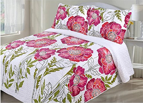 3 Piece Girls Pink Floral Themed Quilt Queen Set, Boho Chic Bohemian Style, Beautiful All Over Hippie Large Flowers, Stems Print, Pretty Charming Bedding, Vibrant Colors, Coral Green White