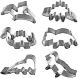 Shxstore Mini Dinosaur Cookie Cutter Set Stainless Steel Jurassic Dino Shaped Cookie Candy Food Molds, 6 Counts