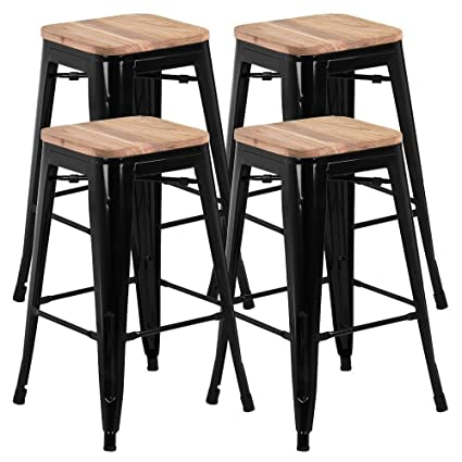 Amazoncom Go2buy 26 Counter Height Bar Stools Wwood Seat Set Of