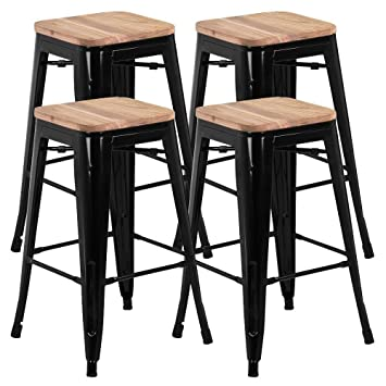 Wondrous Go2Buy 26Inch Counter Height Bar Stools W Wood Seat Set Of 4 Metal Counter Stool Kitchen Island Pub Dining Bar Chairs Rustic 331Lb Black Onthecornerstone Fun Painted Chair Ideas Images Onthecornerstoneorg