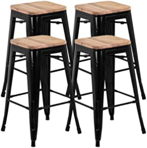 go2buy 26inch Counter Height Bar Stools w/Wood Seat Set of 4 Metal Counter Stool Kitchen Island Pub Dining Bar Chairs Rustic, 331Lb Black