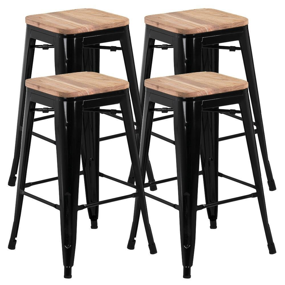 Yaheetech 26'' barstools Set of 4 Counter Height Metal Bar Stools, Indoor Outdoor Stackable Bartool Industrial with Wood Seat 331Lb, Black