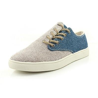 Barco Zapatos Holgazanes Primavera Verano japonés Estilo Casual De los hombres Moda Lino Zapatos (EUR43: apropiado para 42, Azul)