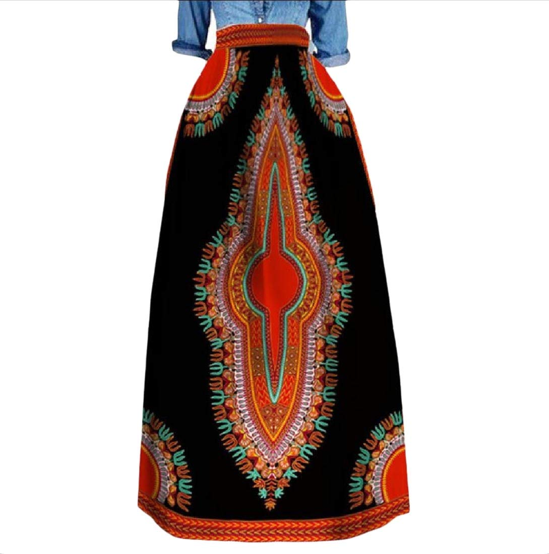 Womens Highwaist Plus Size Dashiki Africa Fashion Long Skirt 14 L