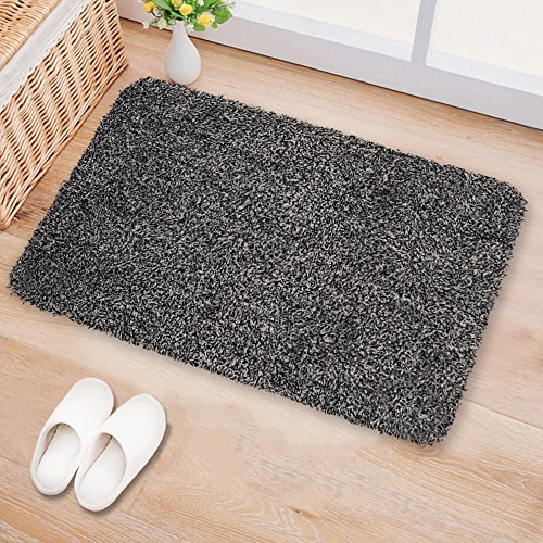 "Small Indoor Doormat Absorbent Moisture PVC Backing Non Slip Door Mat for Front Door Inside Floor Dirt Trapper Mats Cotton Entrance Rug 18""x28"" Shoes Scraper Machine Washable Carpet Black White Fiber (Floor Mat Small)"