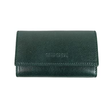 gucci key pouch. gucci unisex leather / canvas key chain holder 260989 6485 (green leather) pouch