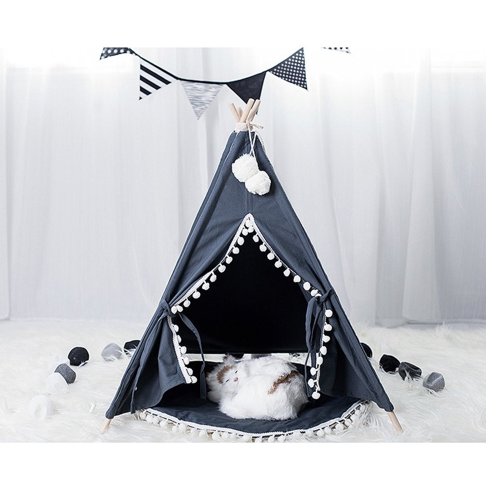 Pet Teepee House - 28 Inch 5-Pole Grey Canvas Tent with Poms Opening, Comes with Cushion &Free Hangings & Name Blackboard, Elegant Cat Dog Puppy Snuggle Bed Furniture By Wonder Space