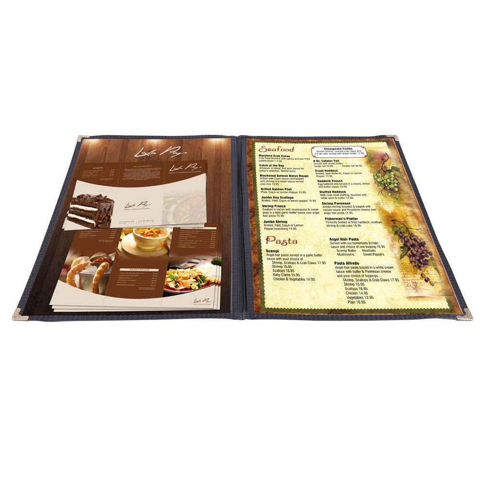 Yescom 30pcs 2 Pages 4 View Double Stitched Fold 8.5x14'' Menu Cover Deli Food Cafe Black Clear Book