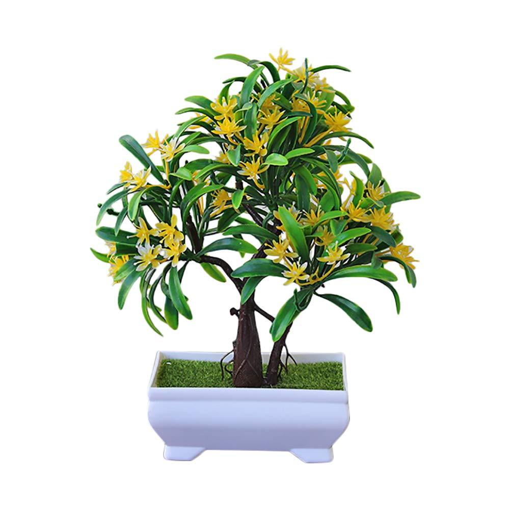 Hojas Verdes Artificiales Amarillo Plantas Planta Artificial para Oficina decoraci/ón hogar /árbol con Maceta Flores 24cm/×16cm Planta Artificial Decorativa de bons/ái bons/ái MoGist