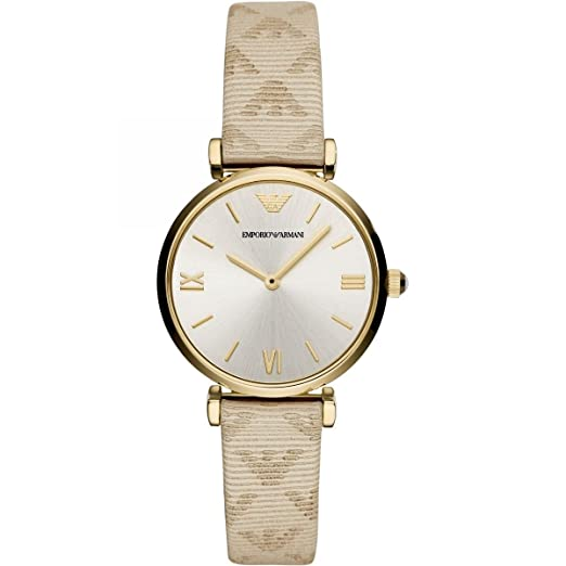 e42656a34c1c Emporio Armani Womens Analogue Quartz Watch with Leather Strap AR11127   Amazon.co.uk  Watches