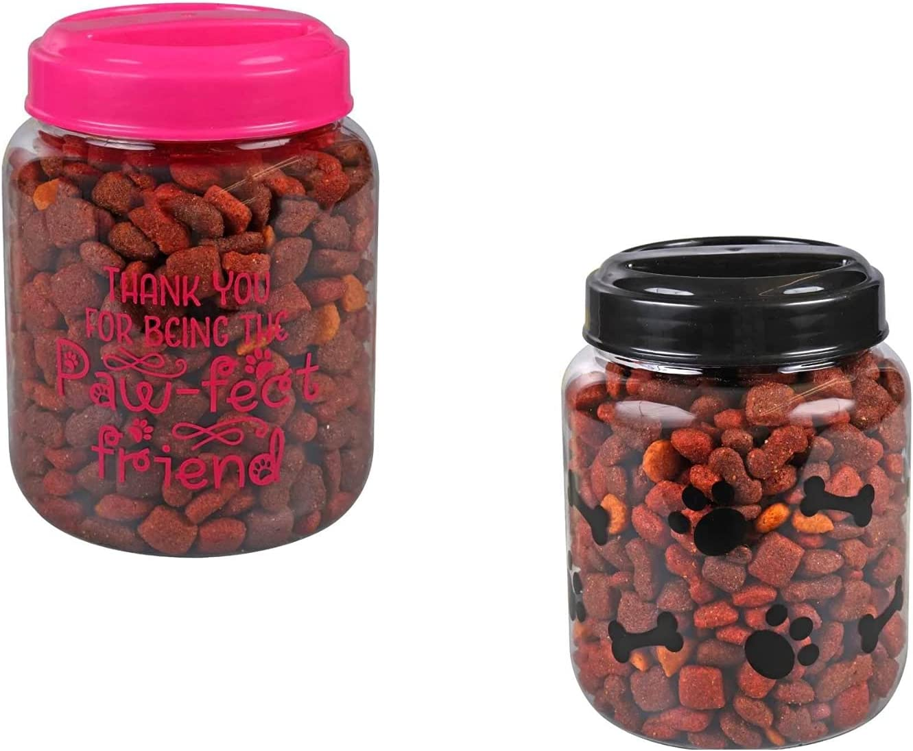 """Spreading Love 2 You-BPA-Free Plastic Airtight Dog Cat Pet Treat & Food Storage Containers/Canisters (1) Pink- """"Thank You for Being The Paw-FECT Friend"""" & (1) Black -covered in bones & paws (Set of 2)"""