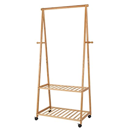 HOMFA Bamboo Clothes Rack On Wheels Rolling Garment Rack With 4 Coat Hooks  And 2