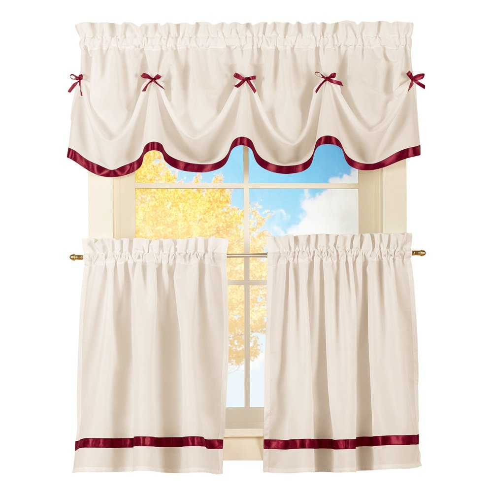 "Collections Etc Dainty Bow Classic Curtain Tier Set with Rod Pocket, Three-Piece Curtain Set with Two Panels and Valance, Burgundy, 36"" L Tiers"