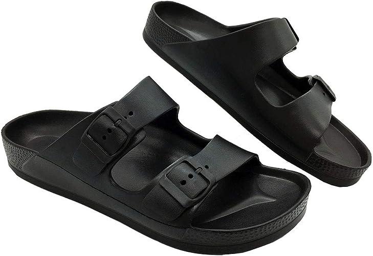 best sale discount best sale LUFFYMOMO Adjustable Slip on Eva Double Buckle Slides Comfort Footbed Thong  Sandals for Womens Mens