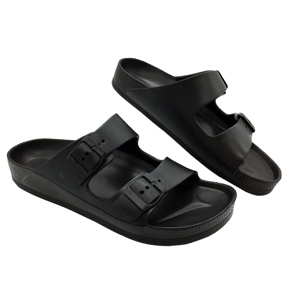 LuffyMomo Adjustable Slip on Eva Double Buckle Slides for Womens Mens (6 B (M) US Women / (Insole Length) 9.45 inch, Black)