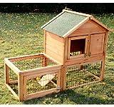 Pawhut Wooden Bunny Rabbit Hutch w/ Outdoor Run