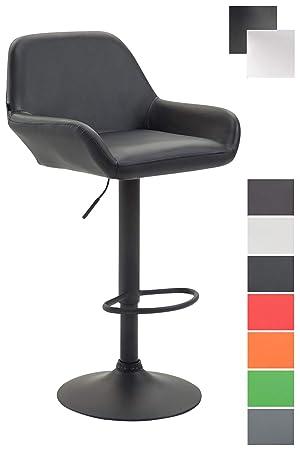 plus récent 023e2 4e5c0 CLP Tabouret de Bar Design Braga Similicuir - Réglable en Hauteur - Chaise  Haute de Bar avec Dossier et Repose-pied Ergonomique - Couleur : Noir, noir