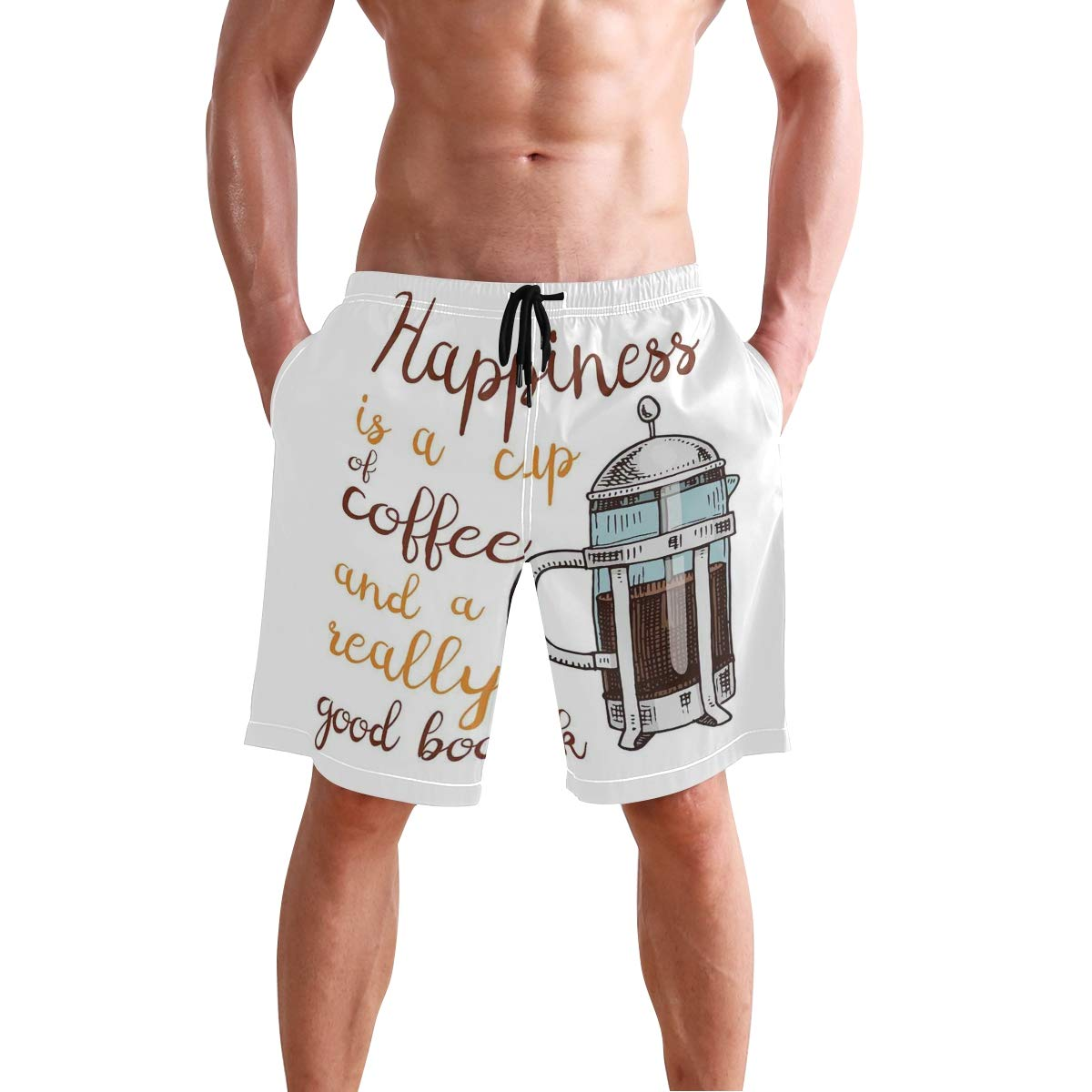 COVASA Mens Summer ShortsFrench Press with Hot Aromatic Beverage and Hand Writ
