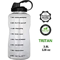 QuiFit Portable Drinking Straw Daily Water Bottle Sport Water Jug Gallon BPA Free Non Leak Design with Time Marked to Ensure You Drink Enough of Water Throughout The Day