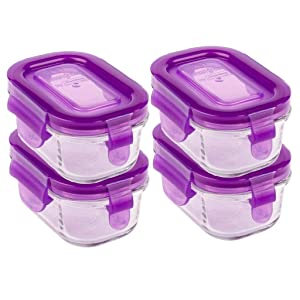 Wean Green Grape Tubs Reusable Glass Food Storage Container Set