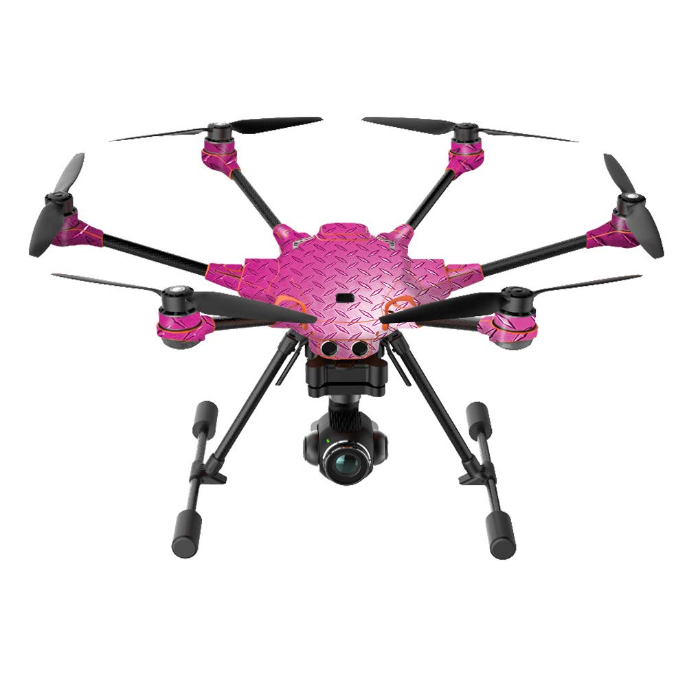 MightySkins Skin Compatible with Yuneec H520-G Quadcopter Drone - Pink Diamond Plate | Protective, Durable, and Unique Vinyl wrap Cover | Easy to Apply, Remove, and Change Styles | Made in The USA