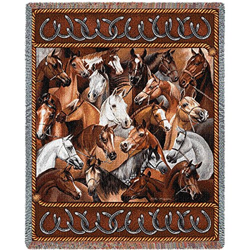 Pure Country Inc. Bridled Horses Blanket Tapestry Throw