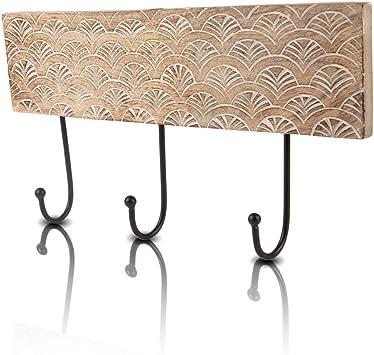 Set of 2 Decorative Wooden /& Cast Iron Vintage Rustic Tree of Life Coat Hanger Wall Mounted Jacket Robe Towel Door Hook Rack Holder Rail for Hallway Living Room Bathroom Bedroom Home Decor Accents