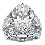 Palm Beach Jewelry Oval-Cut White Cubic Zirconia Platinum-Plated 3-Piece Bridal Ring Set Size 8