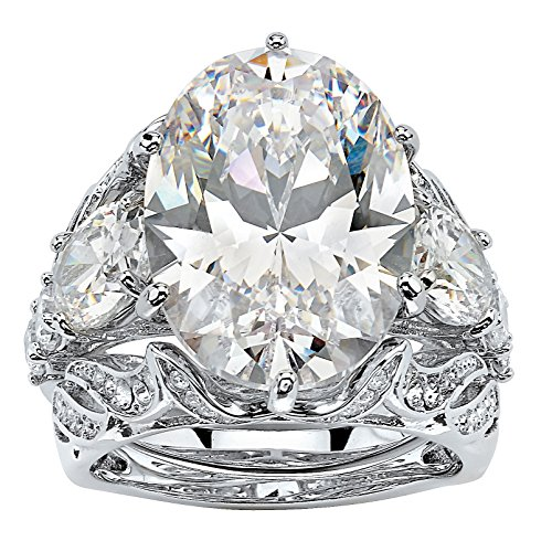 Palm Beach Jewelry Platinum Plated Oval Cut Cubic Zirconia Bridal Ring Set Size 6