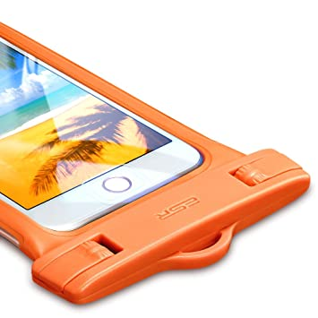 Carcasa impermeable IPX8, ESR – Funda impermeable universal, compatible con Samsung Galaxy S5 iPhone 6 Plus Samsung Galaxy S4, color naranja