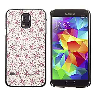 Paccase / SLIM PC / Aliminium Casa Carcasa Funda Case Cover para - Floral Red Pattern Vintage Wallpaper Pattern - Samsung Galaxy S5 SM-G900