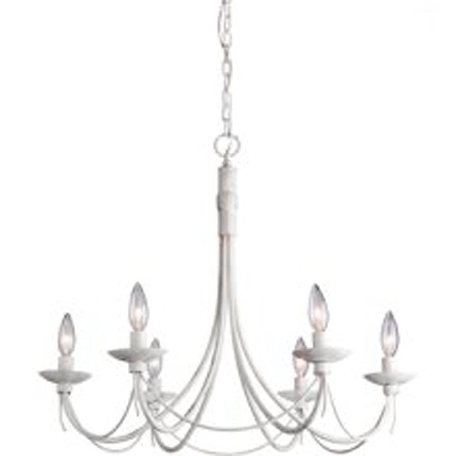 Artcraft Lighting Wrought Iron 6 Light Chandelier Antique White