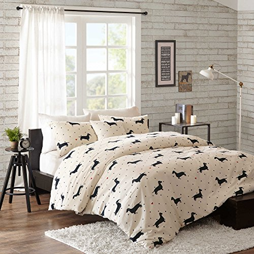 NEW! HipStyle Olivia Full/Queen 4-Piece Duvet Cover Bedding Set with Matching Pillow Shams and Decorative Pillow in Black and White Polka Dot and Dachshund - Westland Address