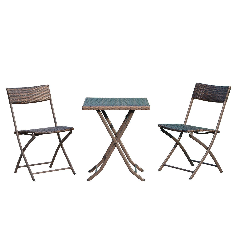 Outsunny® Sitzgruppe Bistroset 3 TLG. Sitzgarnitur Gartengarnitur Balkonset Balkonmöbel klappbar, Polyrattan, kaffeebraun 841-176