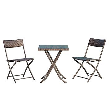Amazon.de: Outsunny® Sitzgruppe Bistroset 3 TLG. Sitzgarnitur ...
