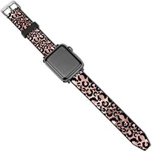 NiYoung Leopard Print Golden Pink Compatible with Apple Watch Replacement Wristband for iWatch Series 5 4 3 2 1