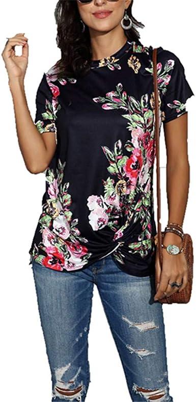 ZFQQ Summer Camiseta de Mujer Cuello Redondo Estampado de Flores y teñido de Manga Corta Suelta: Amazon.es: Ropa y accesorios