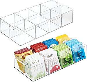 mDesign Compact Plastic Tea Storage Organizer Caddy Tote Bin - 8 Divided Sections, Built-in Handles - Holder for Tea Bags, Small Packets, Sweeteners - BPA Free, 2 Pack - Clear