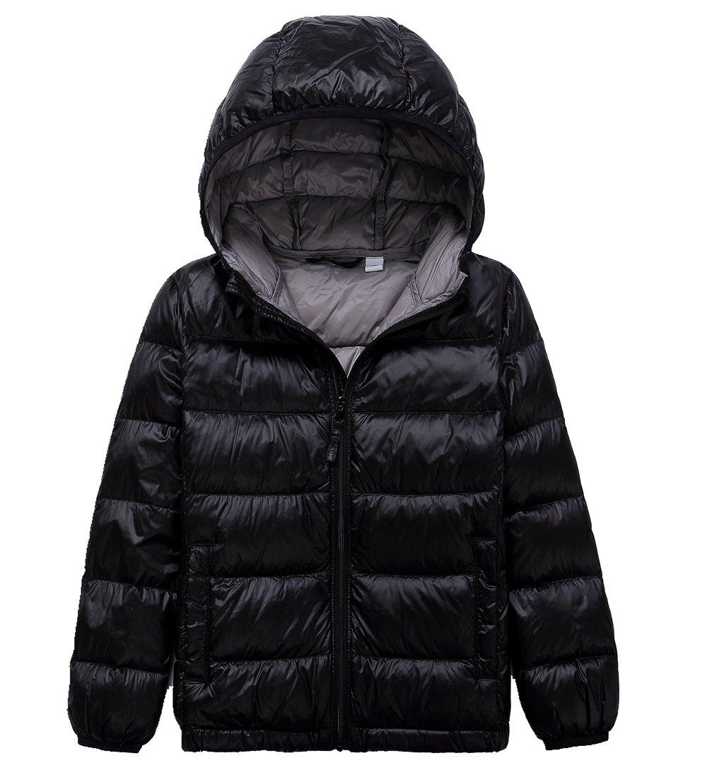 Lanbaosi Kid's Puffer Jacket Boy's Girl's Packable Hoodie Down Parka Jacket Coat, Black, 8