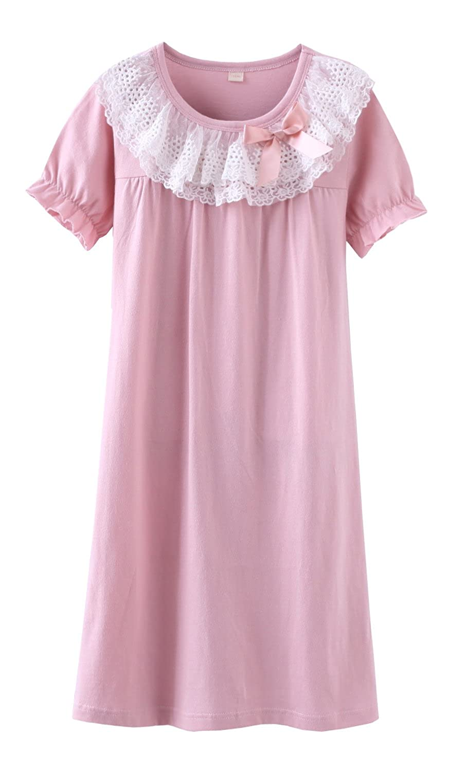 ABClothing Girls' Lace Nighties & Bowknot Nightgowns 100% Cotton Sleepwear for Toddler 5-14 Years
