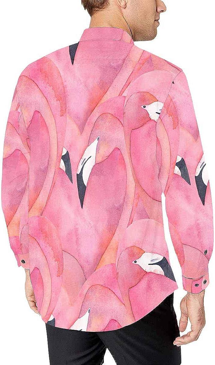 INTERESTPRINT Mens Hawaiian Shirt Long Sleeve Slim Fit Beach Shirt Pink Flamingo