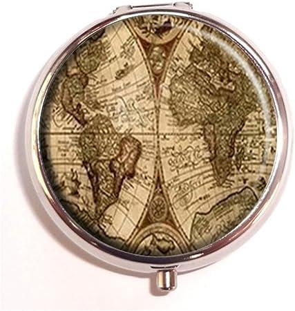 RUNDO Antiguo Mapa del Mundo Personalizado Plateado Redondo Pastillero Cartera de Viaje Kit Vitamina Decorativa Caja de Protección: Amazon.es: Hogar