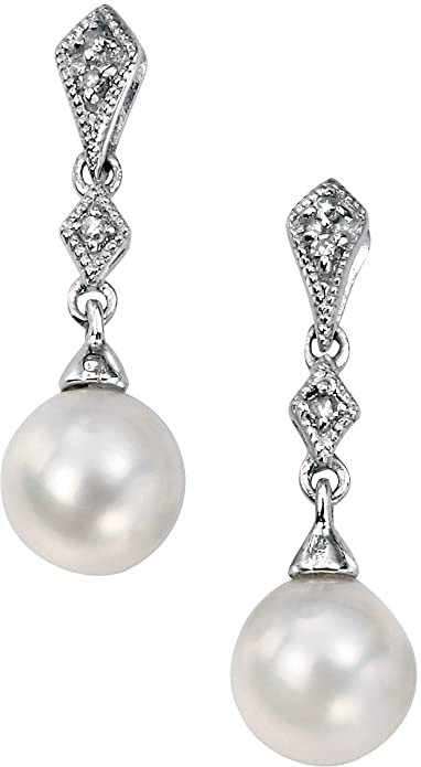 Elements Gold Ladies 9ct Yellow Gold Freshwater Pearl and Diamond Drop Earrings jDRDj