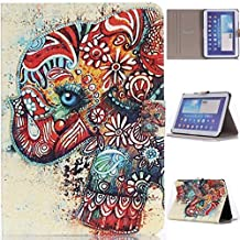 """Slim Fit P5200 Case, Gift_Source(Stand Feature) Folio Flip PU Leather Case Cover Skin Back Case for Samsung Galaxy Tab3 10.1"""" Tablet GT-P5200 / GT-P5210 (Flower Elephant),Sent Screen Protector + Stylus Pen"""