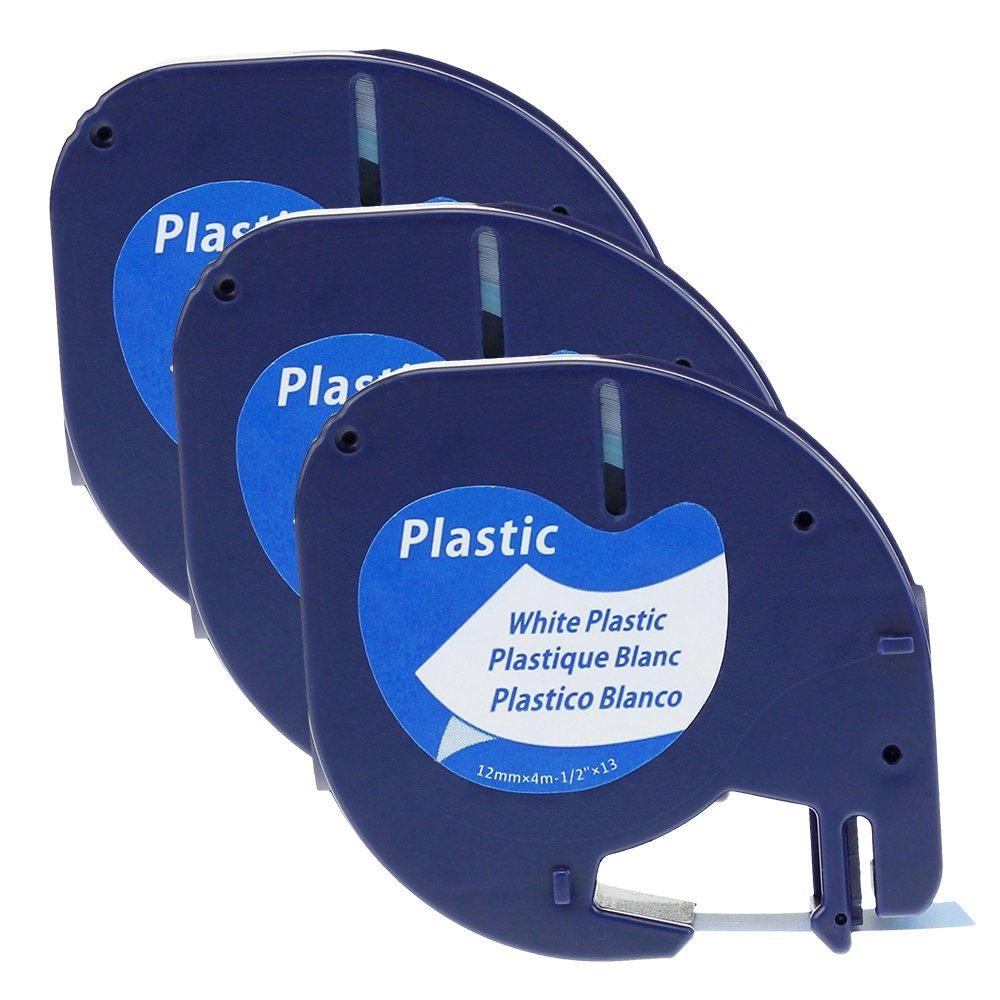 Plastic Schwarz auf Wei/ß,12mm x 4m 5x Kompatibel Dymo Letratag Etikettenband Kunststoff Schriftband 91221//91201//91331//S0721660,Dymo LetraTag Etikettenband f/ür LT-100H LT-100T QX50 2000 XR XM Plus