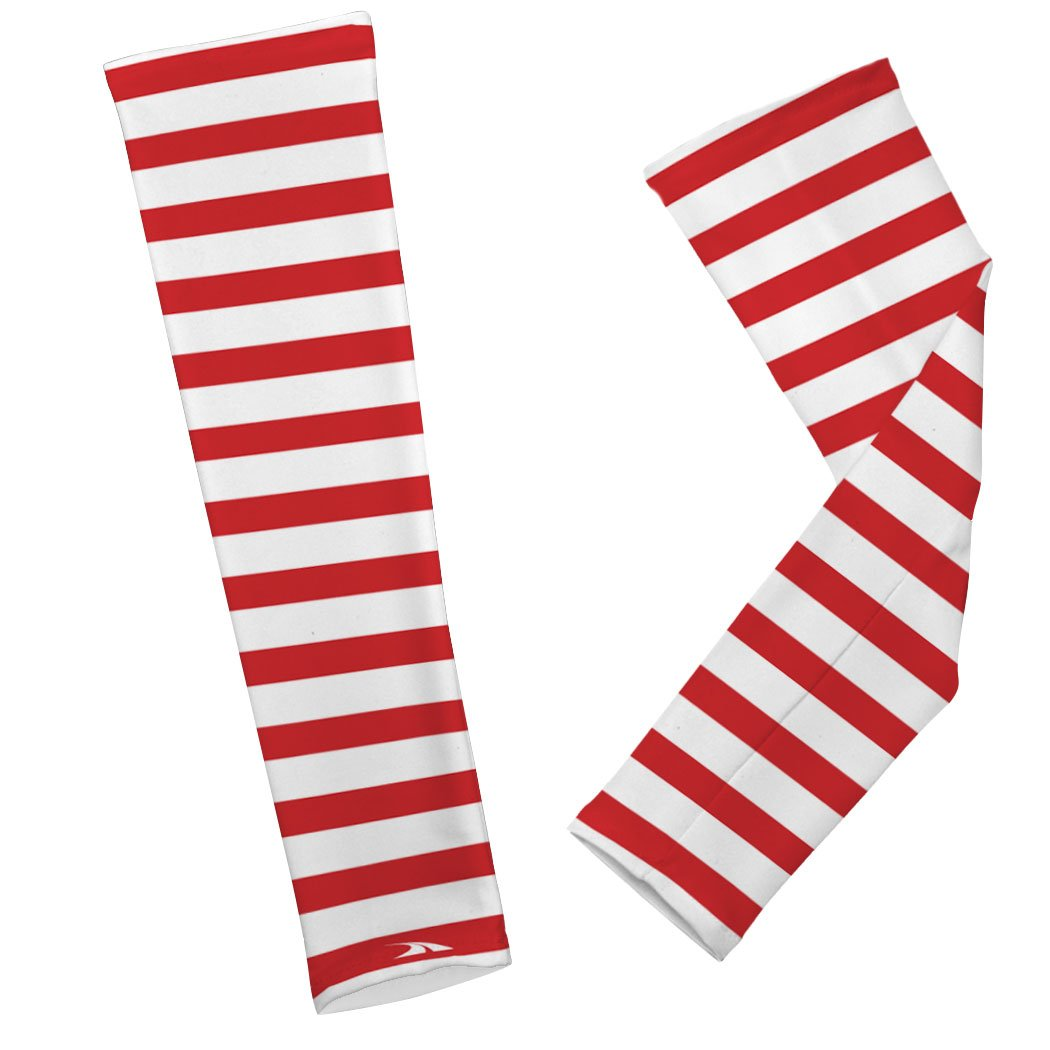 Gone For a Run Printed Arm Sleeves Candy Cane Stripes