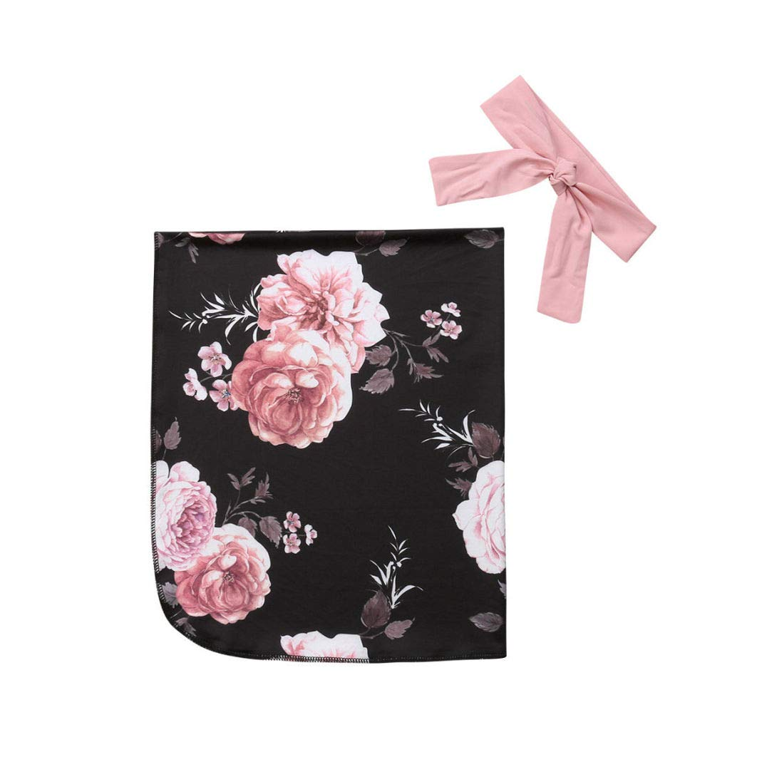 Reci/én Nacido de empa/ñar Blanketswaddling gasa floral Wrap Cinta de cabeza infantil Trajes 2pcs de algod/ón Wrap