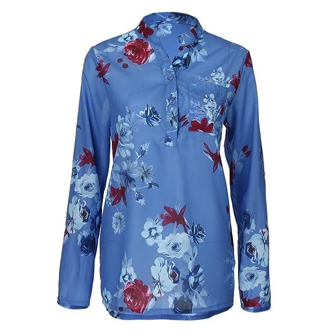 Camiseta para Mujer,ZARLLE❤️Moda Impresion Floral Blusa De Gasa Manga Larga Pullover De