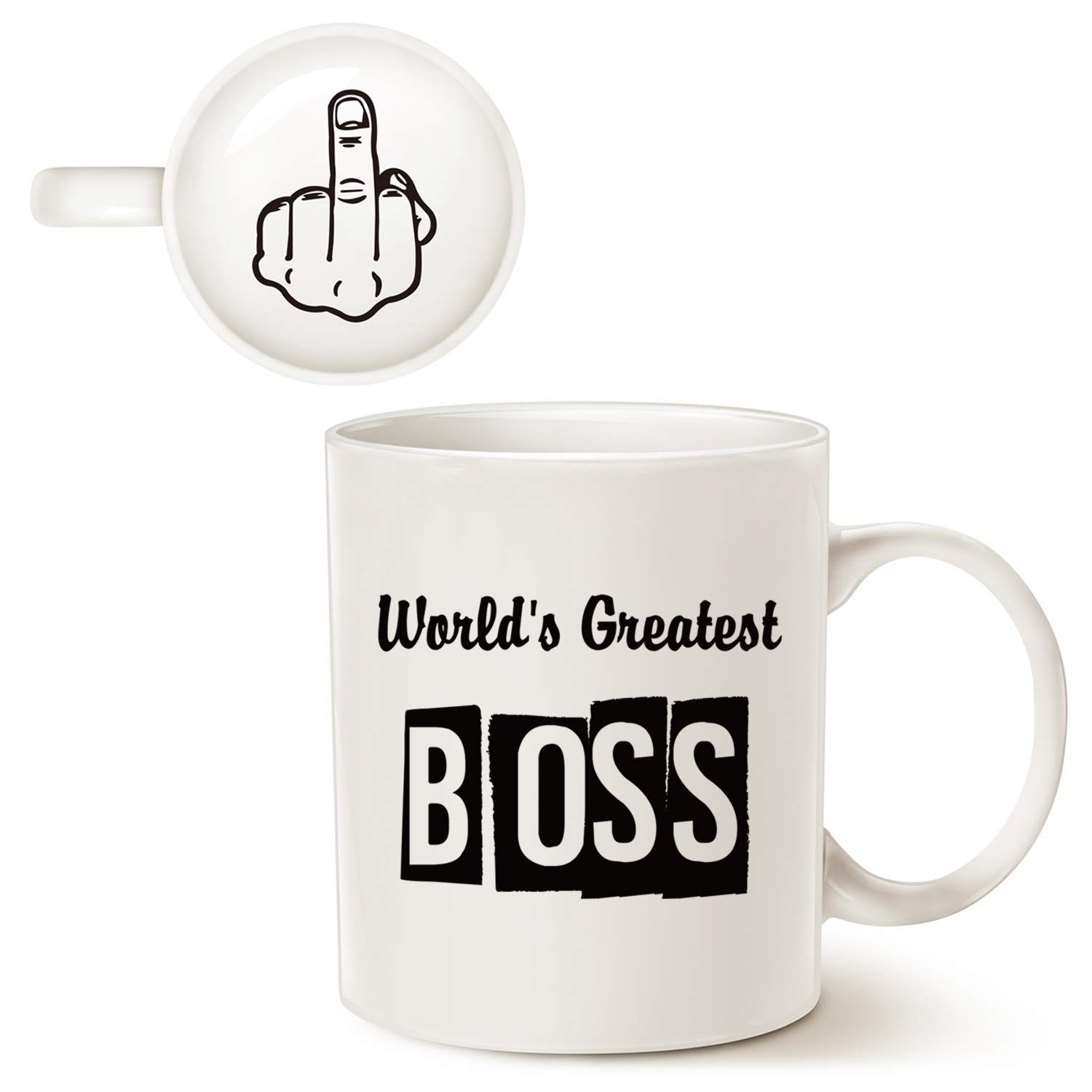 MAUAG Funny Bosses Day Gifts Best Boss Coffee Mug Christmas Gifts, World's Greatest Boss Cup White, Best Office idea for Manager, 11 Oz
