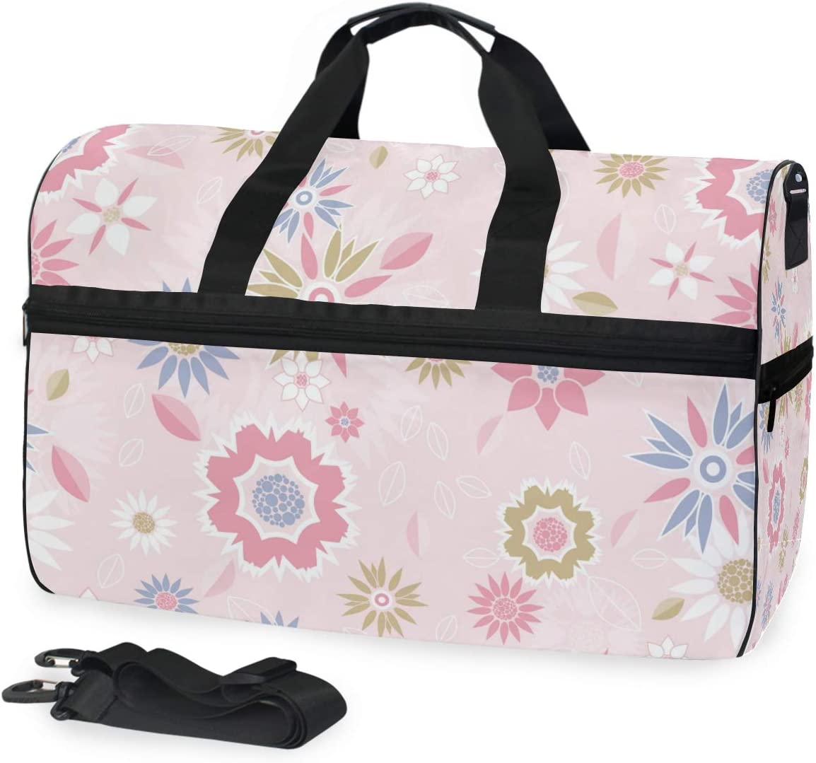 Travel Duffels Floral Pink Duffle Bag Luggage Sports Gym for Women /& Men